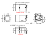 Mechanical drawing and dimensions of GigE Industrial Camera 0.4MP Monochrome with Sony IMX287 sensor, model MER-041-302GM
