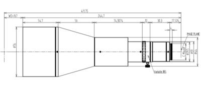 """LCM-TELECENTRIC-0.188X-WD167-1.5, Telecentric C-mount Lens, magnification 0.188X, sensorsize 2/3"""""""
