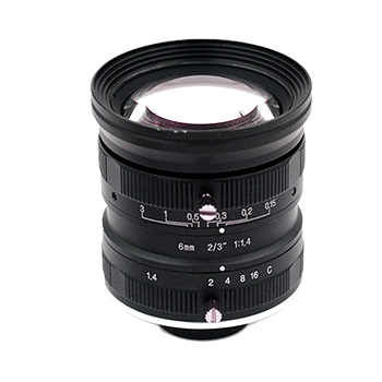 "LCM-5MP-06MM-F1.4-1.5-ND1, LENS C-mount 5MP 6MM F1.4 2/3"" NON DISTORTION"