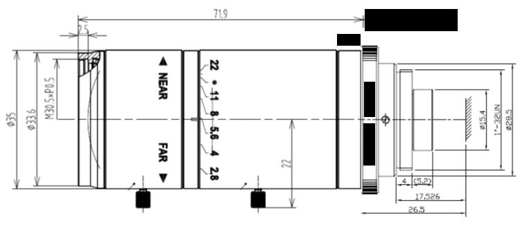 LCM-5MP-150MM-F5.6-1.8-ND1, LENS C-mount 5MP 150MM F5.6 1/1.8