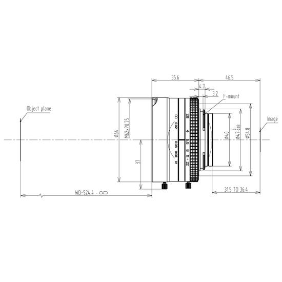 LFM-29MP-50MM-F2.8-43-ND1, LENS F-mount 29MP 50MM F2.8 ImageCircle=43mm NON DISTORTION