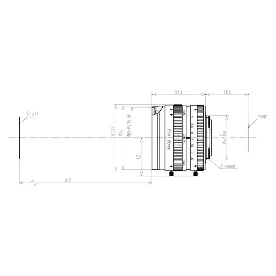 LFM-29MP-60MM-F4-64-ND1, LENS F-mount 29MP 60MM F4 ImageCircle=64mm NON DISTORTION
