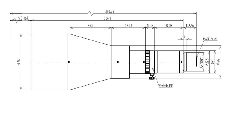 LCM-TELECENTRIC-0.22X-WD167-1.5, Bi-Telecentric C-mount Lens, magnification 0.22X, sensorsize 2/3