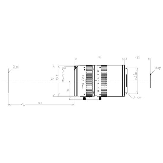 LFM-29MP-80MM-F5.6-58-ND1, LENS F-mount 29MP 80MM F5.6 ImageCircle=58mm NON DISTORTION