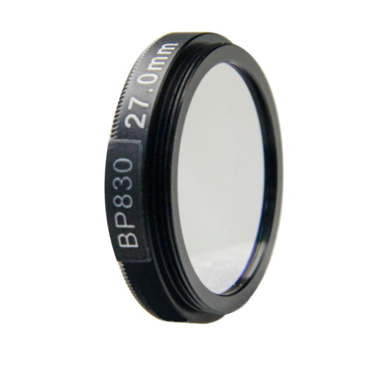 LFT-BP830-M27, Narrow bandpass filter,  830nM Peak wavelength, useful range between 802-868nM