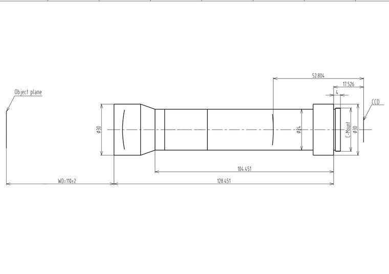 "LCM-TELECENTRIC-1X-WD110-1.5-NI, Bi-Telecentric C-mount lens, Magnification 1x, Sensorsize 2/3"""