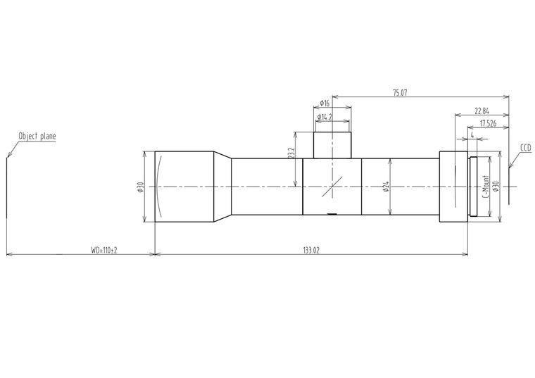 """LCM-TELECENTRIC-2X-WD110-1.5-CO, Bi-Telecentric C-mount lens, Magnification 2x, Sensorsize 2/3"""""""