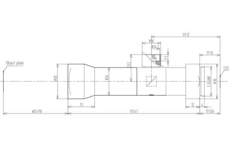 """LCM-TELECENTRIC-4X-WD110-1.5-CO, Bi-Telecentric C-mount lens, Magnification 4x, Sensorsize 2/3"""""""