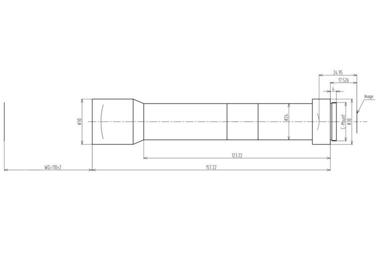 "LCM-TELECENTRIC-6X-WD110-1.5-NI, Bi-Telecentric C-mount lens, Magnification 6x, Sensorsize 2/3"""