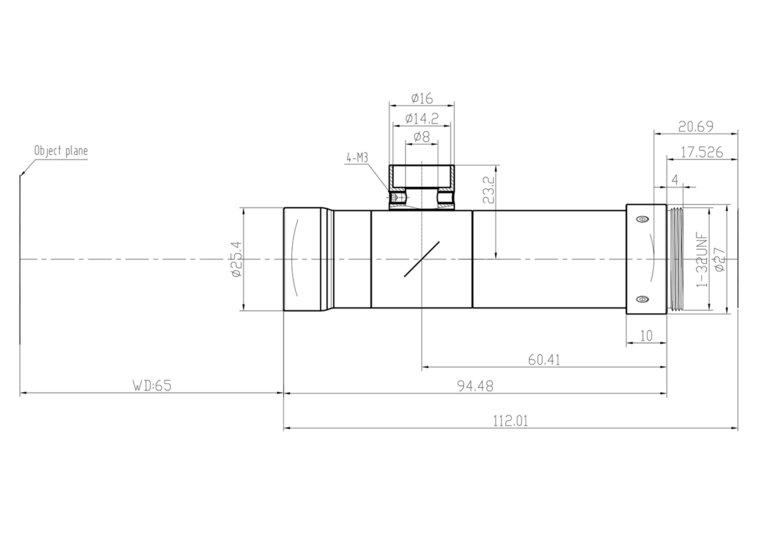 """LCM-TELECENTRIC-3X-WD65-1.5-CO, Bi-Telecentric C-mount lens, Magnification 3x, Sensorsize 2/3"""""""