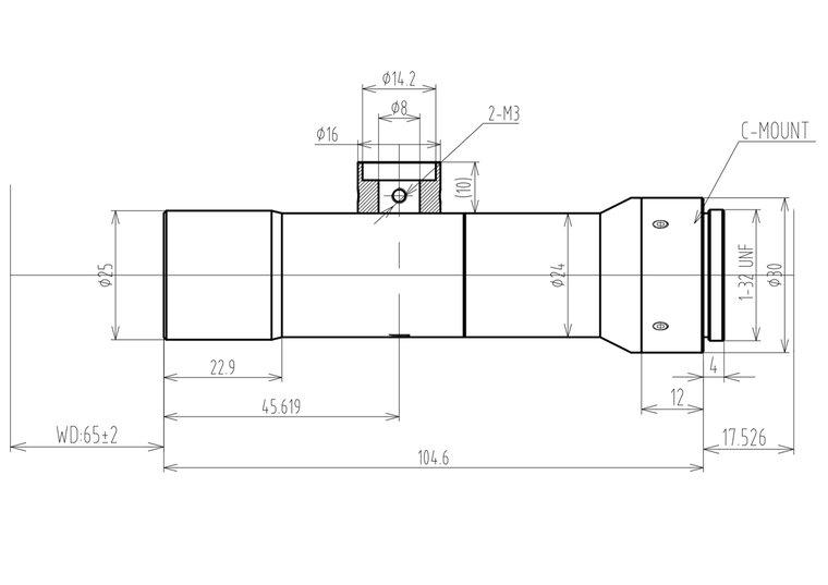"""LCM-TELECENTRIC-4X-WD65-1.5-CO, Bi-Telecentric C-mount lens, Magnification 4x, Sensorsize 2/3"""""""