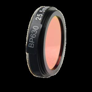 LFT-BP630-M27, Narrow bandpass filter,  630nM Peak wavelength, useful range between 610-648nM