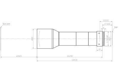 "LCM-TELECENTRIC-1X-WD65-1.5-NI, Bi-Telecentric C-mount lens, Magnification 1x, Sensorsize 2/3"""