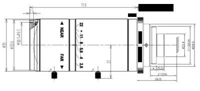 Mechanical Drawing LCM-5MP-150MM-F2.8-1.8-ND1