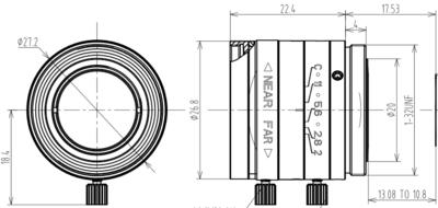 Mechanical Drawing LCM-5MP-16MM-F2.0-1.8-ND1